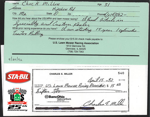 First Membership Check (Chuck Miller)